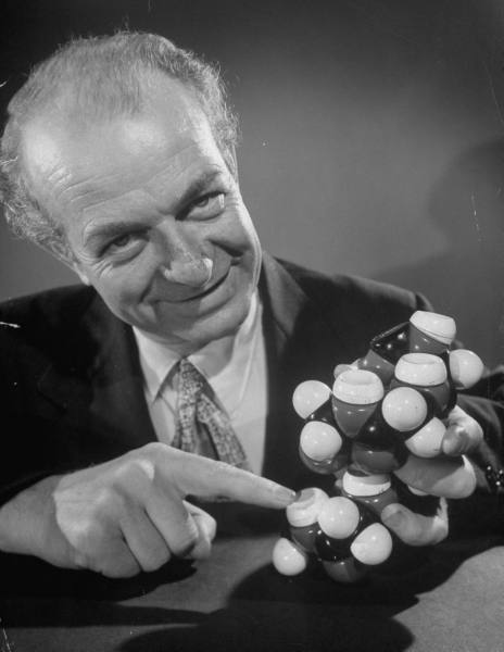 4b-linus-pauling-holding-wooden-model-of-protein-structure-1951